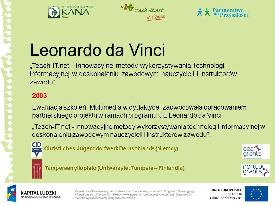 """Leonardo da Vinci 2003 Ewaluacja szkoleń """"Multimedia w dydaktyce zaowocowała opracowaniem partnerskiego projektu w ramach programu UE Leonardo da Vinci """"Teach-IT.net - Innowacyjne metody wykorzystywania technologii informacyjnej w doskonaleniu zawodowym nauczycieli i instruktorów zawodu ."""