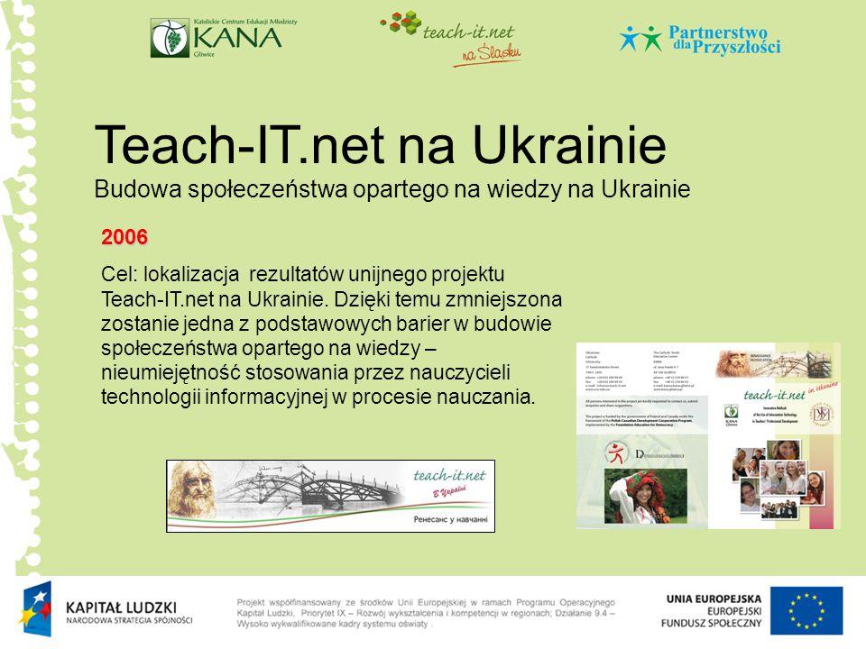 Teach-IT.net na Ukrainie Budowa społeczeństwa opartego na wiedzy na Ukrainie 2006 Cel: lokalizacja rezultatów unijnego projektu Teach-IT.net na Ukrain