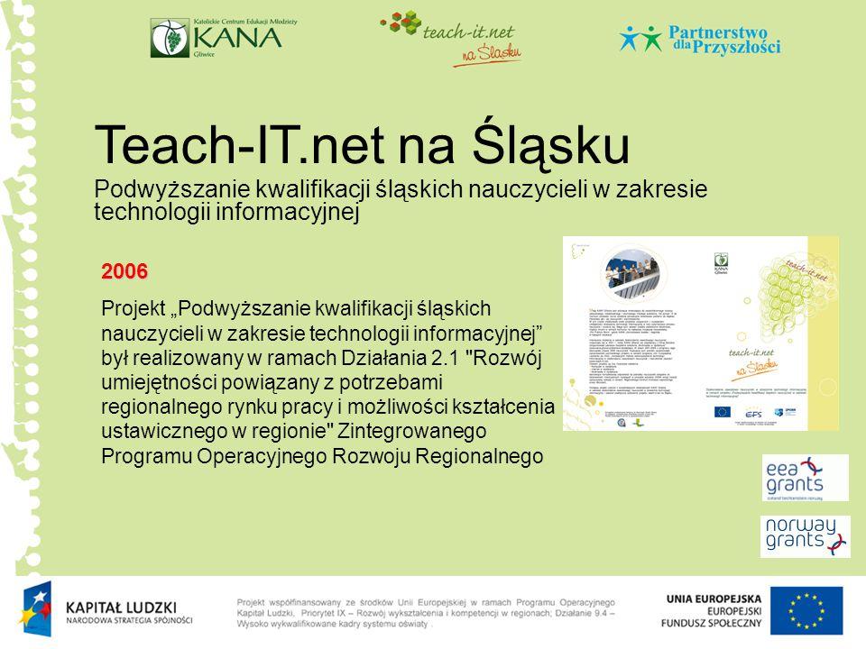 e.Teach-IT.net Modelowe doskonalenie zawodowe w dziedzinie IT dla animatorów życia społecznego w Polsce Południowej 2008 Utworzenie modułowego szkolenia e-learningowego Stworzenie upgrade systemu Teach-IT.net Przeszkolenie ok.