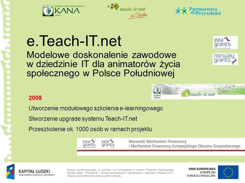 e.Teach-IT.net Modelowe doskonalenie zawodowe w dziedzinie IT dla animatorów życia społecznego w Polsce Południowej 2008 Utworzenie modułowego szkolen