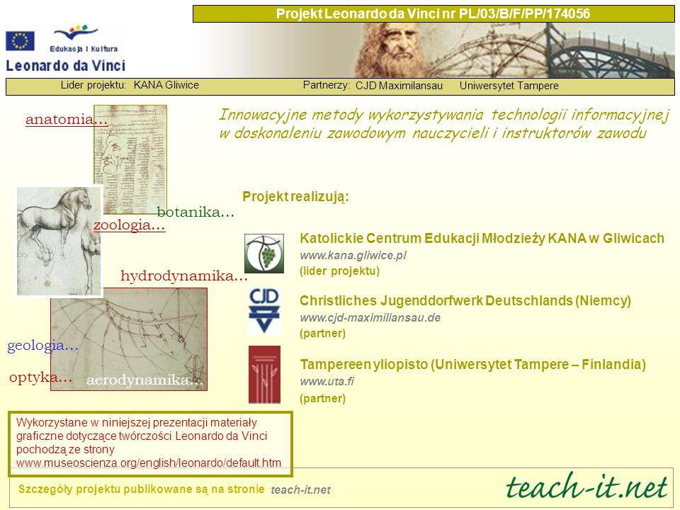 KANA GliwicePartnerzy: CJD MaximilansauUniwersytet Tampere Lider projektu: Projekt Leonardo da Vinci nr PL/03/B/F/PP/174056 Przeanalizowaliśmy system doskonalenia zawodowego nauczycieli w dziedzinie TI w Polsce.