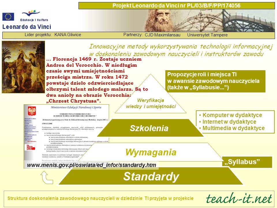 """KANA GliwicePartnerzy: CJD MaximilansauUniwersytet Tampere Lider projektu: Projekt Leonardo da Vinci nr PL/03/B/F/PP/174056 Prosimy o pomoc w przygotowaniu kolejnej wersji """"Syllabusa (wersji 5) Wczytanie się w standardy i wymagania zapisane w """"Syllabusie... , zabranie głosu w dyskusji, rozszerzenie lub zawężenie zakresu wymagań."""