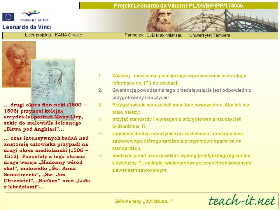 KANA GliwicePartnerzy: CJD MaximilansauUniwersytet Tampere Lider projektu: Projekt Leonardo da Vinci nr PL/03/B/F/PP/174056 Prace rozpoczęliśmy od przyjęcia standardów i wymagań przygotowania nauczycieli w dziedzinie TI.