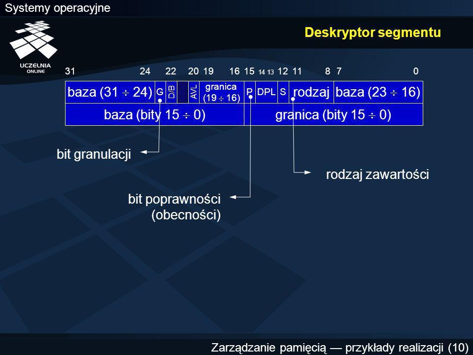 Systemy operacyjne Zarządzanie pamięcią — przykłady realizacji (10) Deskryptor segmentu rodzaj 0113187 AVL baza (bity 15  0) baza (23  16) S 12 DPL 14 13 P 15 granica (19  16) 191620 D/B G baza (31  24) 2422 granica (bity 15  0) bit poprawności (obecności) rodzaj zawartości bit granulacji