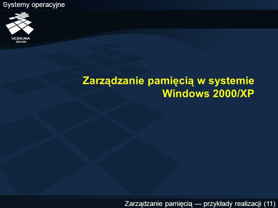 Systemy operacyjne Zarządzanie pamięcią — przykłady realizacji (11) Zarządzanie pamięcią w systemie Windows 2000/XP