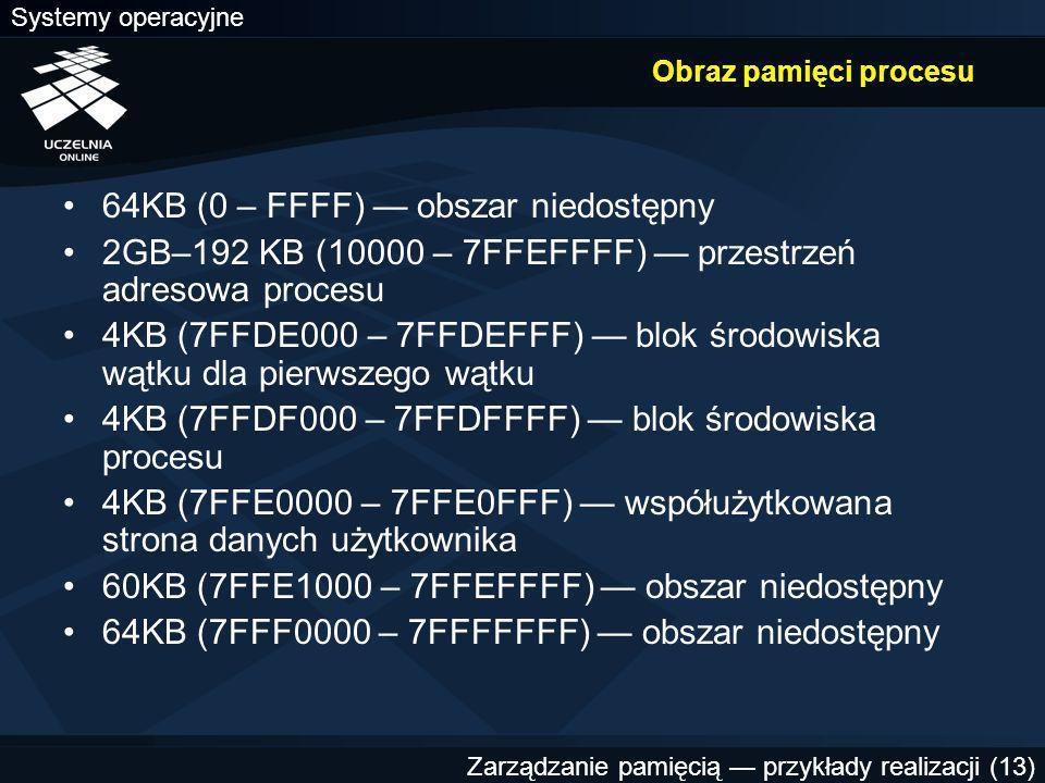 Systemy operacyjne Zarządzanie pamięcią — przykłady realizacji (13) Obraz pamięci procesu 64KB (0 – FFFF) — obszar niedostępny 2GB–192 KB (10000 – 7FFEFFFF) — przestrzeń adresowa procesu 4KB (7FFDE000 – 7FFDEFFF) — blok środowiska wątku dla pierwszego wątku 4KB (7FFDF000 – 7FFDFFFF) — blok środowiska procesu 4KB (7FFE0000 – 7FFE0FFF) — współużytkowana strona danych użytkownika 60KB (7FFE1000 – 7FFEFFFF) — obszar niedostępny 64KB (7FFF0000 – 7FFFFFFF) — obszar niedostępny