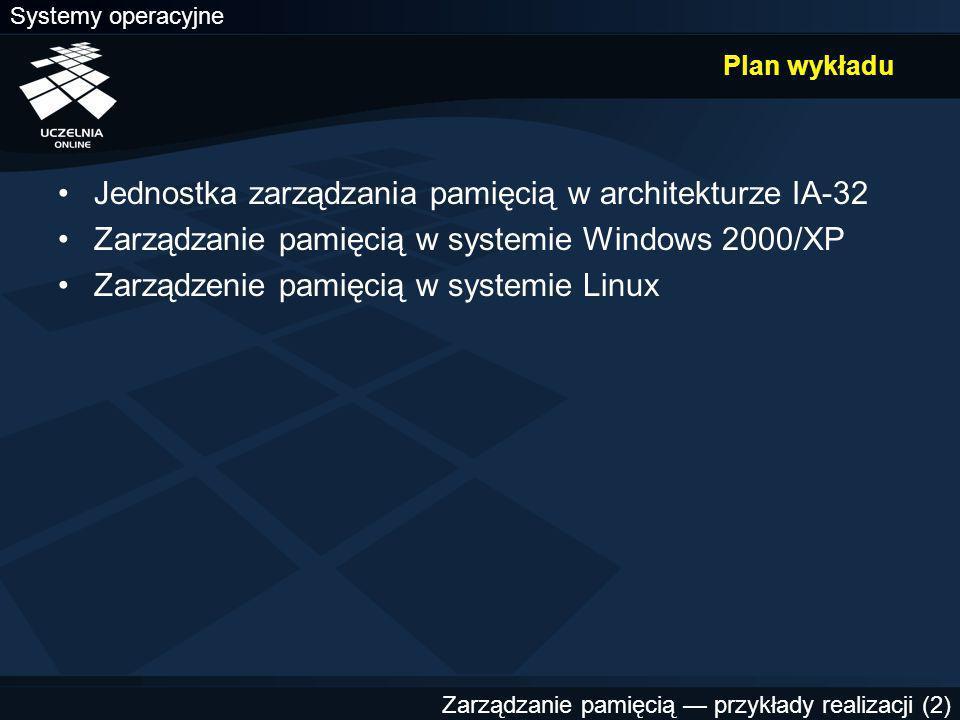 Zarządzanie pamięcią — przykłady realizacji (2) Plan wykładu Jednostka zarządzania pamięcią w architekturze IA-32 Zarządzanie pamięcią w systemie Windows 2000/XP Zarządzenie pamięcią w systemie Linux