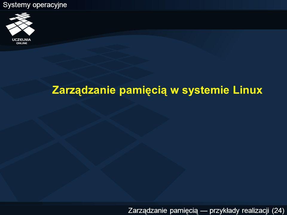 Systemy operacyjne Zarządzanie pamięcią — przykłady realizacji (24) Zarządzanie pamięcią w systemie Linux