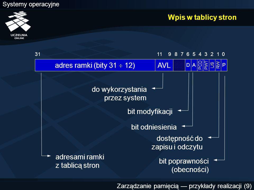 Systemy operacyjne Zarządzanie pamięcią — przykłady realizacji (9) Wpis w tablicy stron AVL 9 011 adres ramki (bity 31  12) 3187 D 6 A 5 PCD 4 PWT 3 US 2 RW 1 P adresami ramki z tablicą stron do wykorzystania przez system bit modyfikacji bit odniesienia dostępność do zapisu i odczytu bit poprawności (obecności)