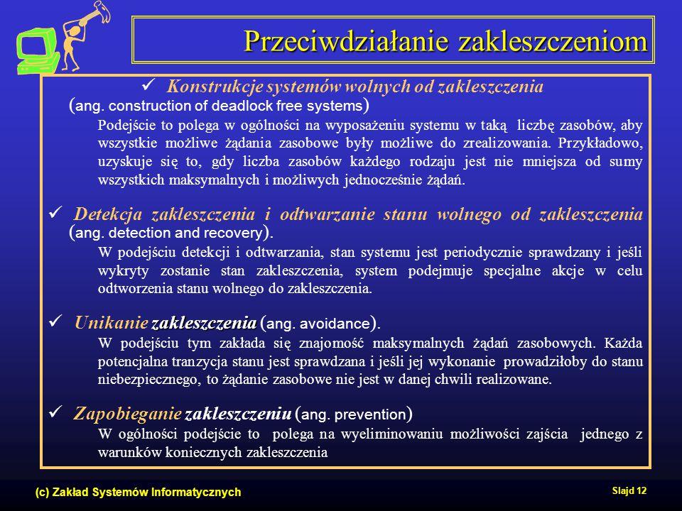 (c) Zakład Systemów Informatycznych Slajd 12 Przeciwdziałanie zakleszczeniom Konstrukcje systemów wolnych od zakleszczenia ( ang. construction of dead