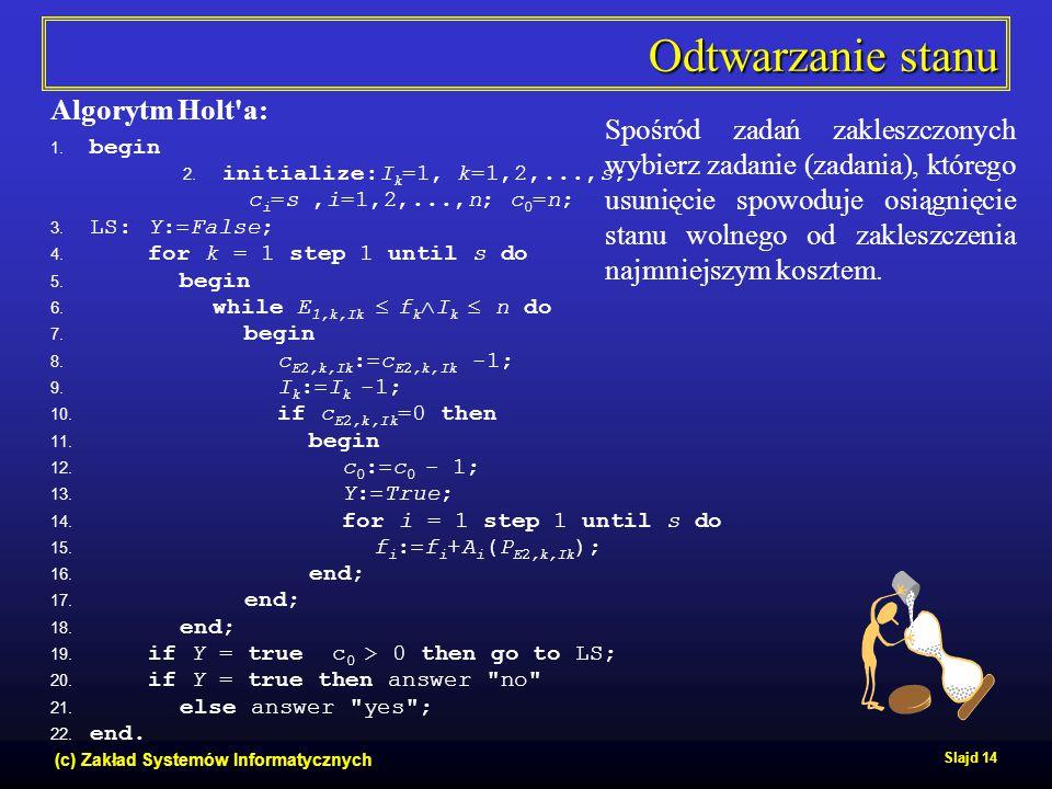 (c) Zakład Systemów Informatycznych Slajd 14 Odtwarzanie stanu Algorytm Holt'a: 1. begin 2. initialize:I k =1, k=1,2,...,s; c i =s,i=1,2,...,n; c 0 =n