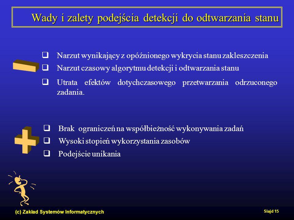 (c) Zakład Systemów Informatycznych Slajd 15 Wady i zalety podejścia detekcji do odtwarzania stanu  Brak ograniczeń na współbieżność wykonywania zada