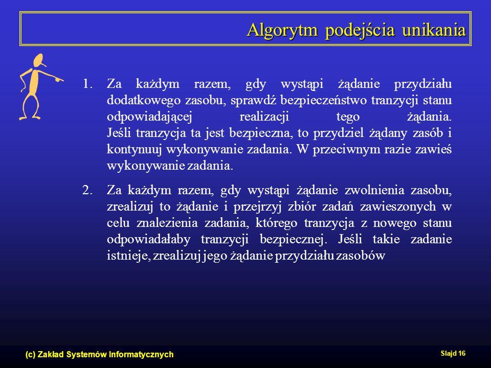 (c) Zakład Systemów Informatycznych Slajd 16 Algorytm podejścia unikania 1.Za każdym razem, gdy wystąpi żądanie przydziału dodatkowego zasobu, sprawdź