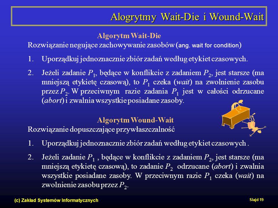(c) Zakład Systemów Informatycznych Slajd 19 Alogrytmy Wait-Die i Wound-Wait Algorytm Wait-Die Rozwiązanie negujące zachowywanie zasobów ( ang. wait f