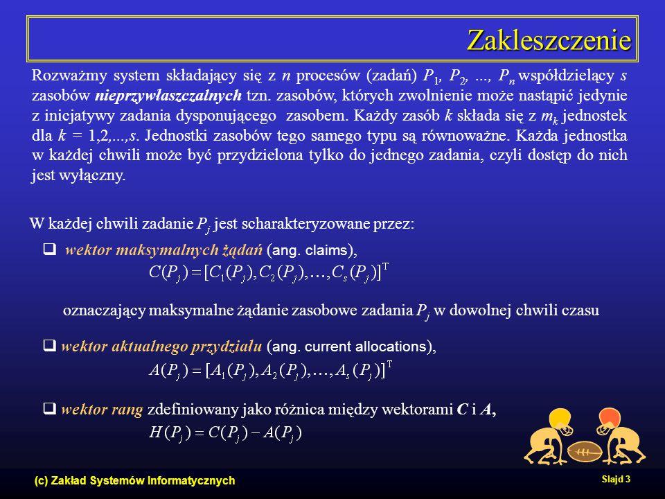 (c) Zakład Systemów Informatycznych Slajd 3 Zakleszczenie Rozważmy system składający się z n procesów (zadań) P 1, P 2,..., P n współdzielący s zasobó