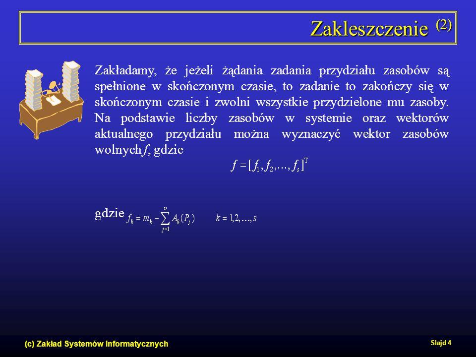 (c) Zakład Systemów Informatycznych Slajd 4 Zakleszczenie (2) Zakładamy, że jeżeli żądania zadania przydziału zasobów są spełnione w skończonym czasie
