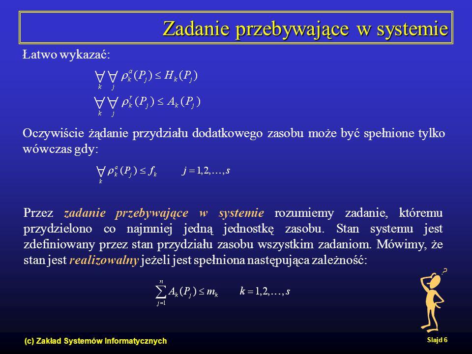(c) Zakład Systemów Informatycznych Slajd 17 Wady i zalety podejścia unikania  Potencjalnie wyższy stopień wykorzystania zasobów niż w podejściu zapobiegania.