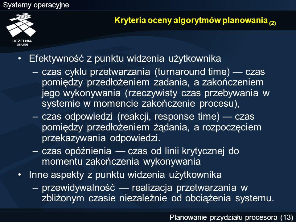 Systemy operacyjne Planowanie przydziału procesora (13) Kryteria oceny algorytmów planowania (2) Efektywność z punktu widzenia użytkownika –czas cyklu