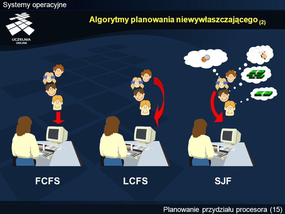 Systemy operacyjne Planowanie przydziału procesora (15) Algorytmy planowania niewywłaszczającego (2) FCFSLCFSSJF