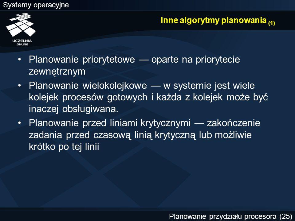Systemy operacyjne Planowanie przydziału procesora (25) Inne algorytmy planowania (1) Planowanie priorytetowe — oparte na priorytecie zewnętrznym Plan