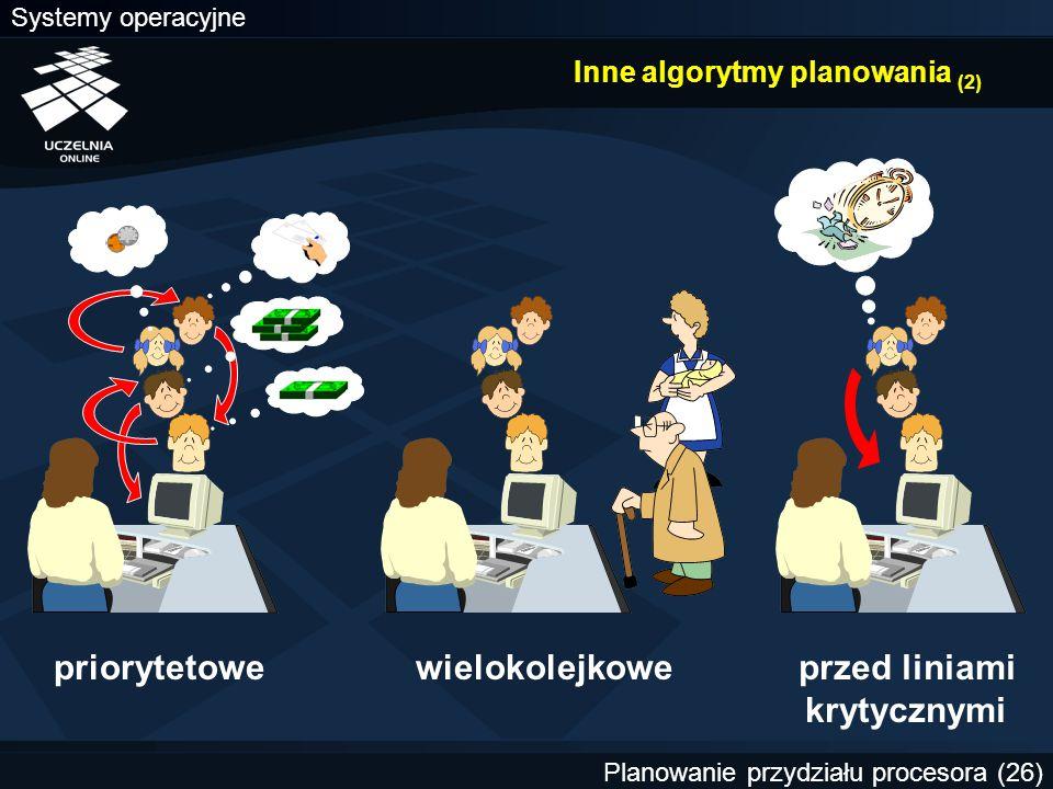 Systemy operacyjne Planowanie przydziału procesora (26) Inne algorytmy planowania (2) priorytetoweprzed liniami krytycznymi wielokolejkowe