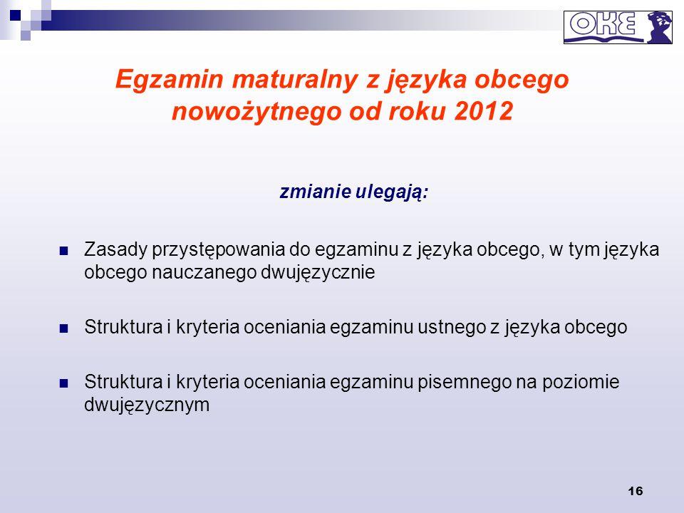 16 Egzamin maturalny z języka obcego nowożytnego od roku 2012 Zasady przystępowania do egzaminu z języka obcego, w tym języka obcego nauczanego dwujęz