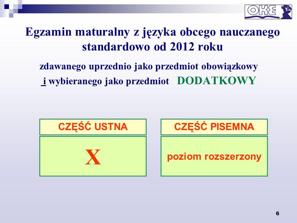 6 Egzamin maturalny z języka obcego nauczanego standardowo od 2012 roku zdawanego uprzednio jako przedmiot obowiązkowy i wybieranego jako przedmiot DO