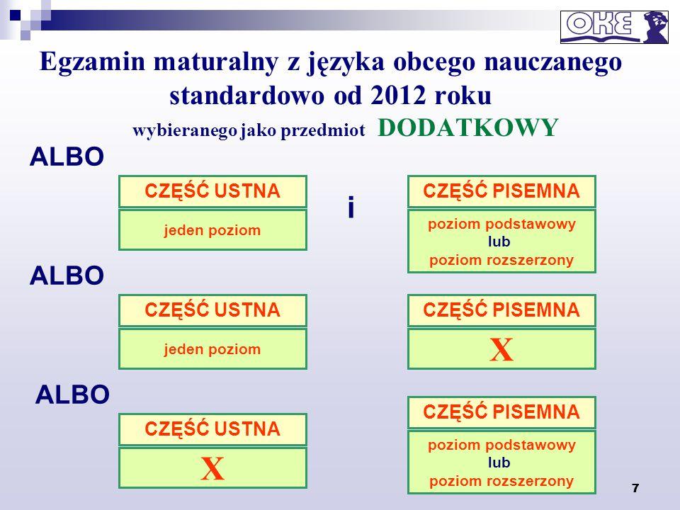 7 Egzamin maturalny z języka obcego nauczanego standardowo od 2012 roku wybieranego jako przedmiot DODATKOWY 7 ALBO i CZĘŚĆ PISEMNA poziom podstawowy