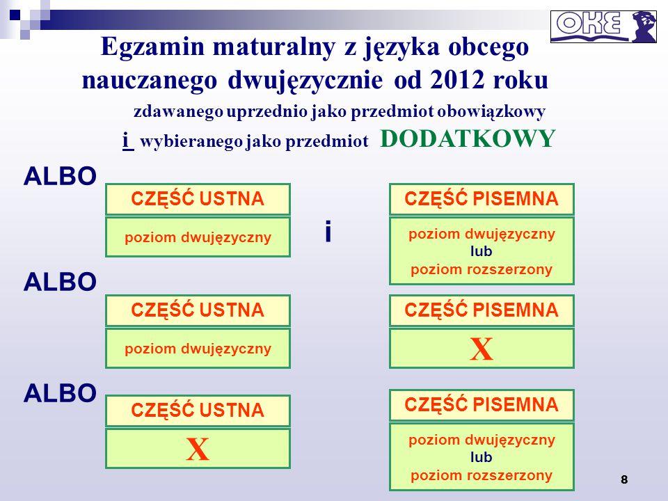 8 Egzamin maturalny z języka obcego nauczanego dwujęzycznie od 2012 roku zdawanego uprzednio jako przedmiot obowiązkowy i wybieranego jako przedmiot D