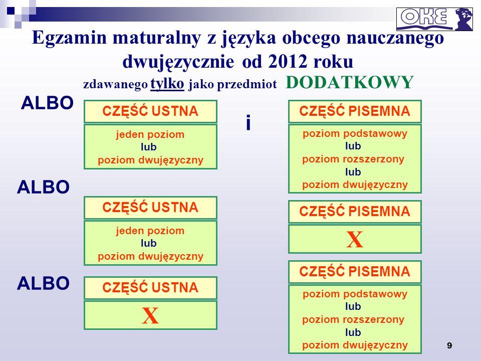 9 zdawanego tylko jako przedmiot DODATKOWY Egzamin maturalny z języka obcego nauczanego dwujęzycznie od 2012 roku i CZĘŚĆ PISEMNA poziom podstawowy lu