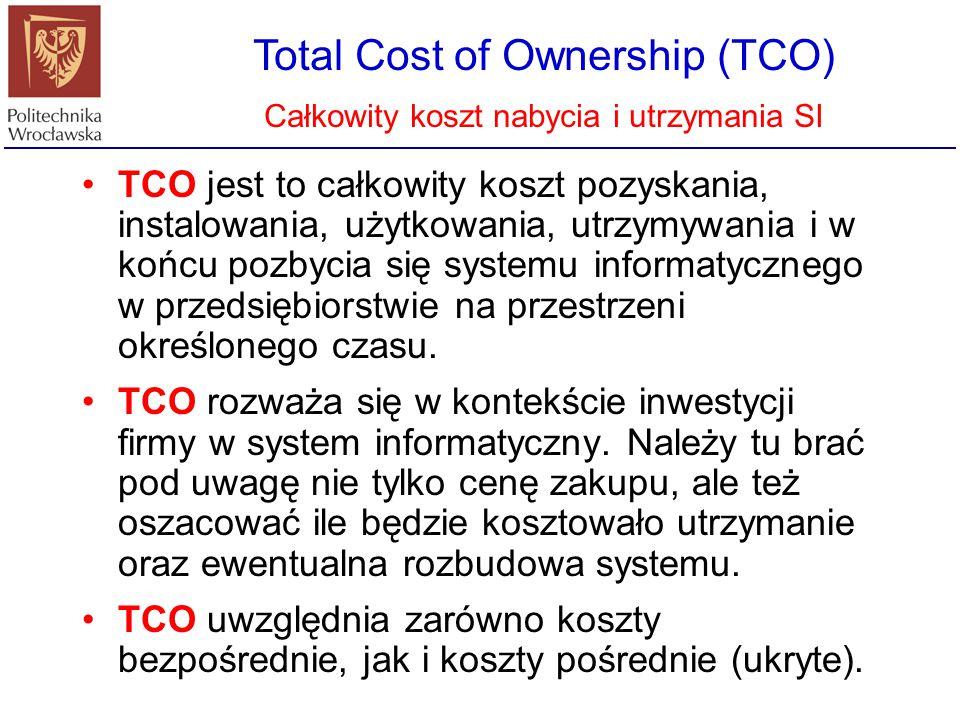 Total Cost of Ownership (TCO) Całkowity koszt nabycia i utrzymania SI TCO - Całkowity Koszt Posiadania - jest to suma wszystkich kosztów rozwiązania informatycznego począwszy od jego zakupu, poprzez użytkowanie, aż do likwidacji.