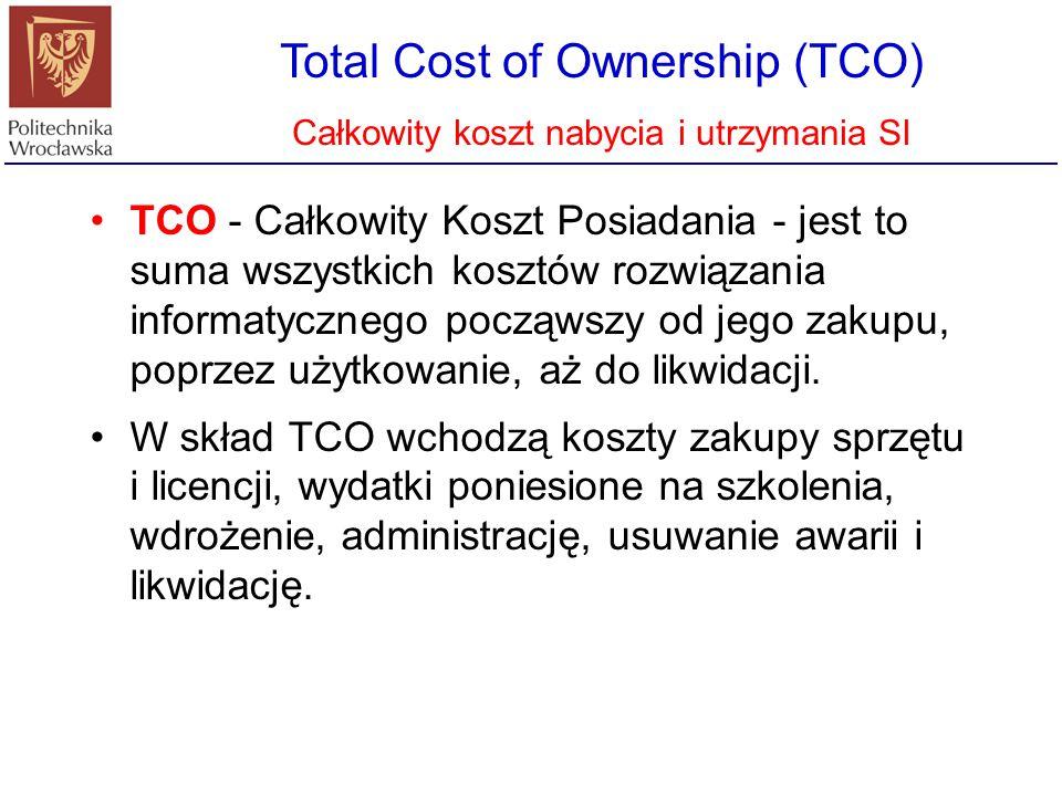 Total Cost of Ownership (TCO) Całkowity koszt nabycia i utrzymania SI TCO jest bardzo dobrym miernikiem porównawczym przy wyborze systemu informatycznego dla przedsiębiorstwa oraz oceny kosztu utrzymania infrastruktury IT.