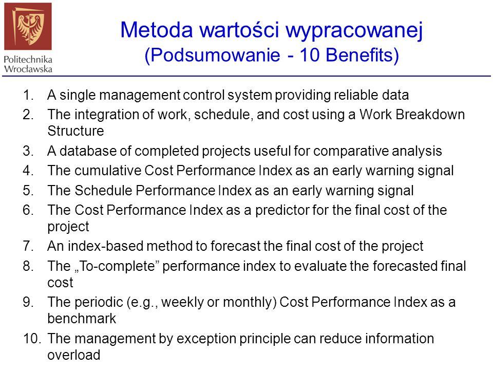 Metoda wartości wypracowanej (Podsumowanie - 10 Benefits) 1.A single management control system providing reliable data 2.The integration of work, sche