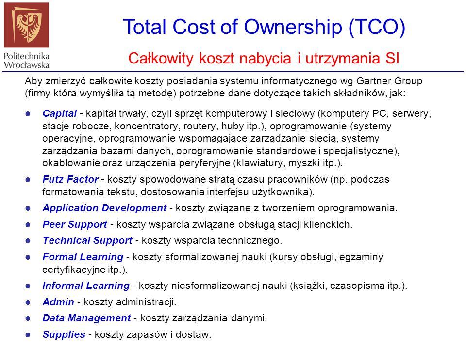 Total Cost of Ownership (TCO) Całkowity koszt nabycia i utrzymania SI Aby zmierzyć całkowite koszty posiadania systemu informatycznego wg Gartner Grou