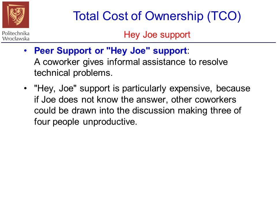 Total Cost of Ownership (TCO) Całkowity koszt nabycia i utrzymania SI TCO analysis was popularized by the Gartner Group in 1987.