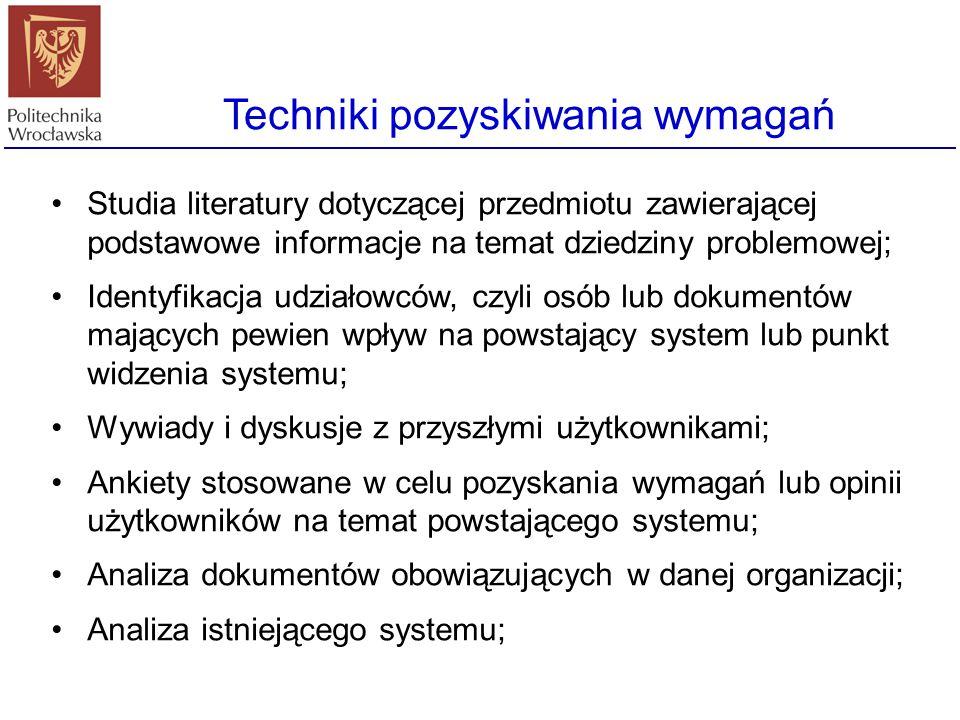 Techniki pozyskiwania wymagań Studia literatury dotyczącej przedmiotu zawierającej podstawowe informacje na temat dziedziny problemowej; Identyfikacja