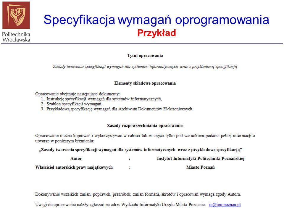 Specyfikacja wymagań oprogramowania Przykład