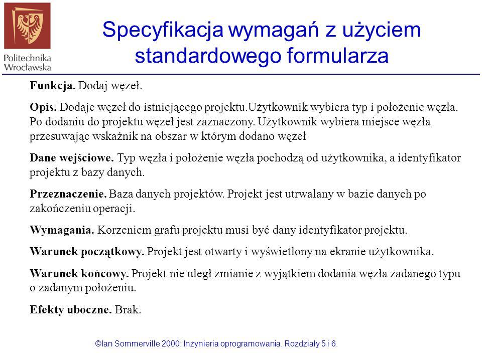 Specyfikacja wymagań z użyciem standardowego formularza ©Ian Sommerville 2000: Inżynieria oprogramowania. Rozdziały 5 i 6. Funkcja. Dodaj węzeł. Opis.
