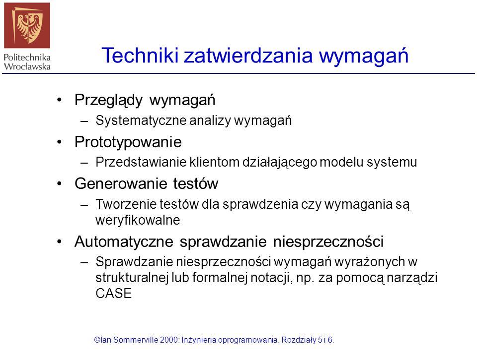 Techniki zatwierdzania wymagań ©Ian Sommerville 2000: Inżynieria oprogramowania. Rozdziały 5 i 6. Przeglądy wymagań –Systematyczne analizy wymagań Pro