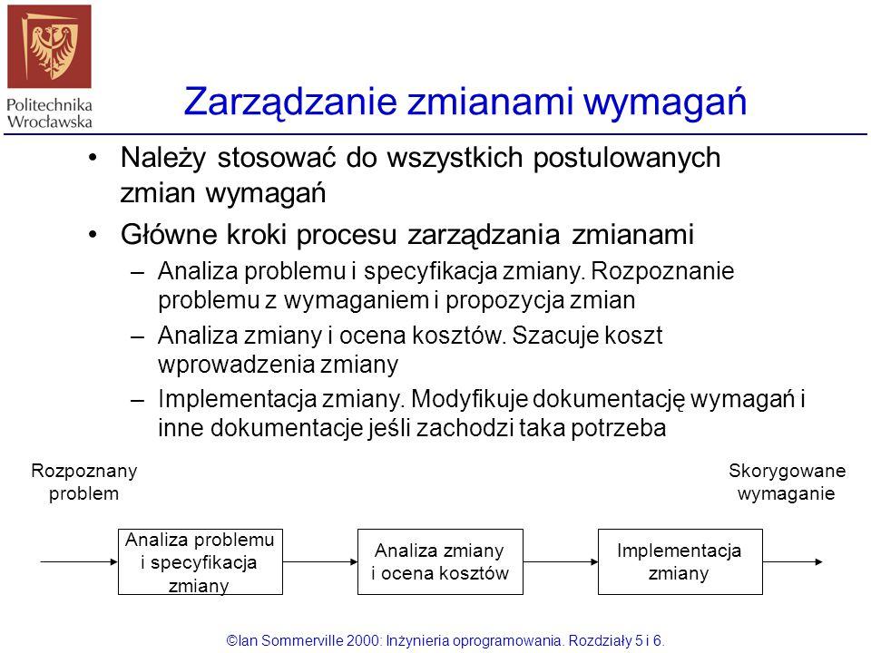 Zarządzanie zmianami wymagań ©Ian Sommerville 2000: Inżynieria oprogramowania. Rozdziały 5 i 6. Należy stosować do wszystkich postulowanych zmian wyma