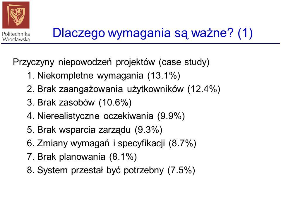 Dlaczego wymagania są ważne? (1) Przyczyny niepowodzeń projektów (case study) 1. Niekompletne wymagania (13.1%) 2. Brak zaangażowania użytkowników (12