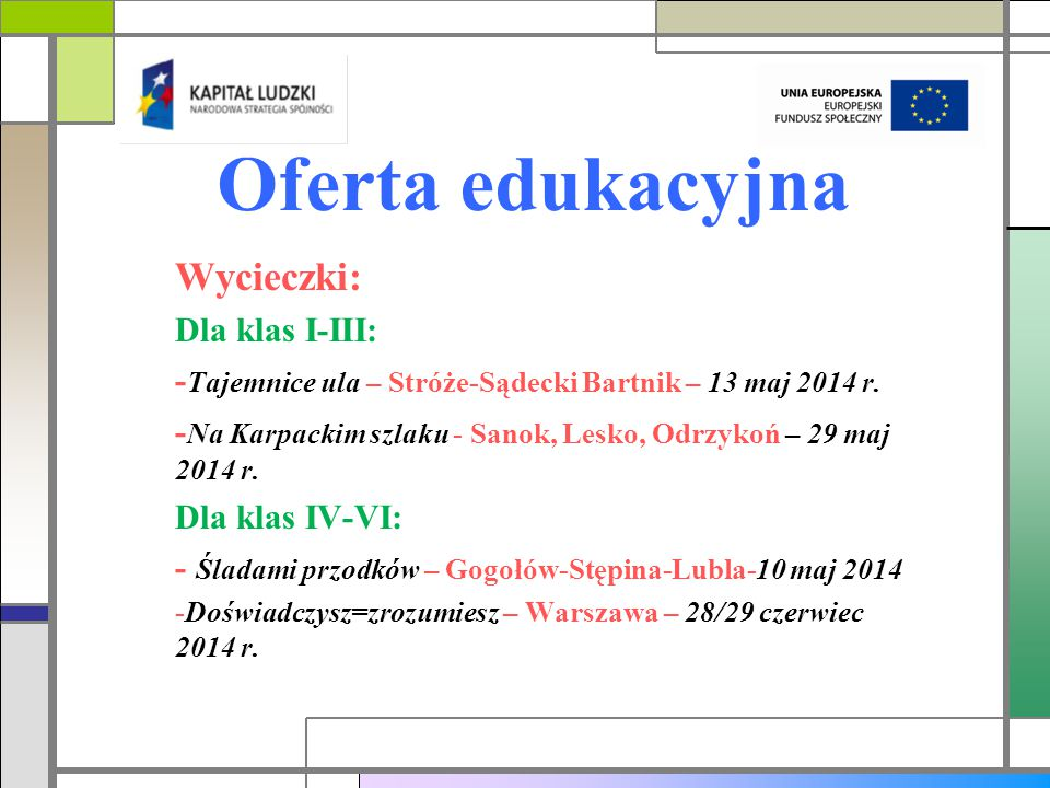 Oferta edukacyjna Wycieczki: Dla klas I-III: - Tajemnice ula – Stróże-Sądecki Bartnik – 13 maj 2014 r.