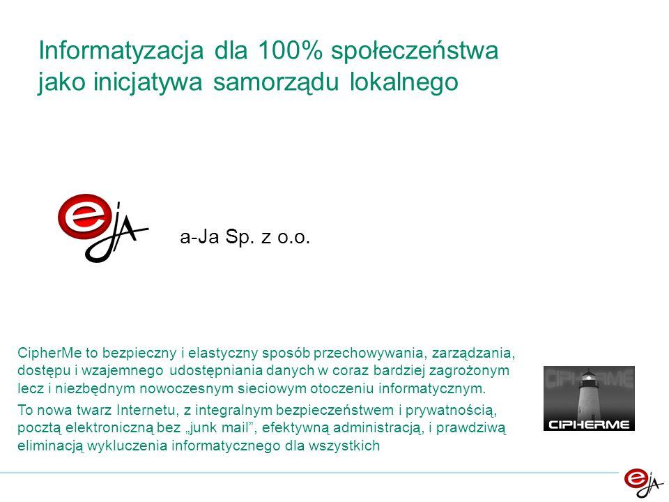 a-Ja Sp. z o.o. Informatyzacja dla 100% społeczeństwa jako inicjatywa samorządu lokalnego CipherMe to bezpieczny i elastyczny sposób przechowywania, z