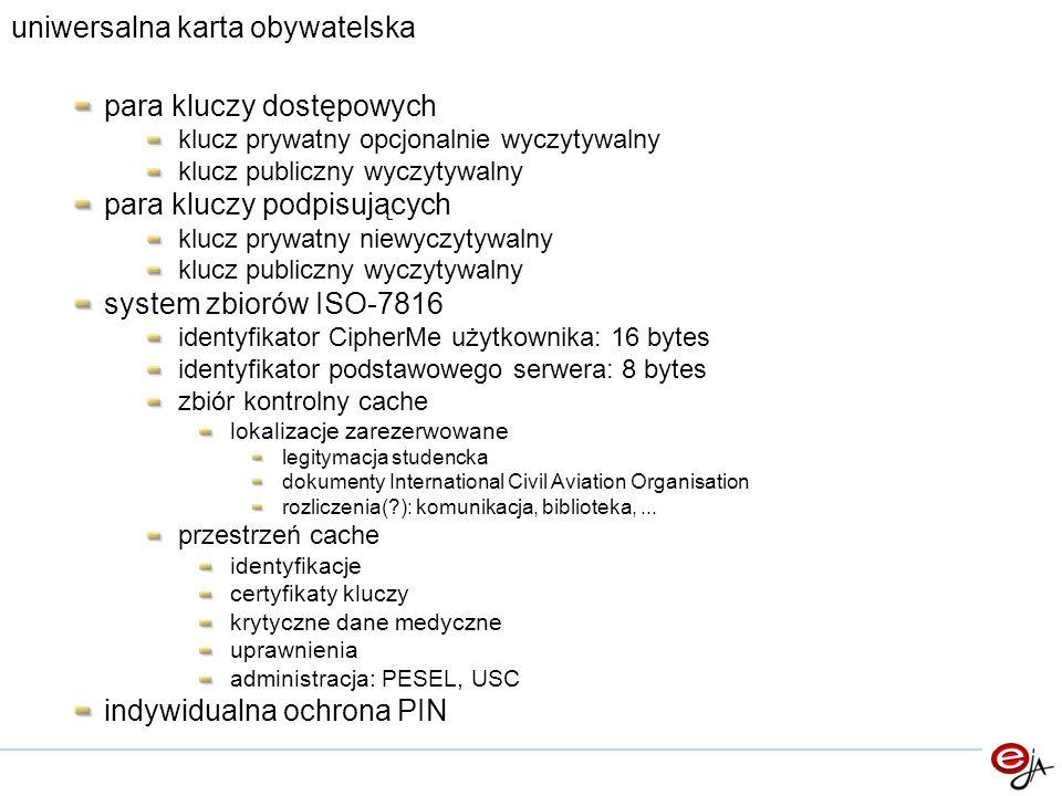 uniwersalna karta obywatelska para kluczy dostępowych klucz prywatny opcjonalnie wyczytywalny klucz publiczny wyczytywalny para kluczy podpisujących k