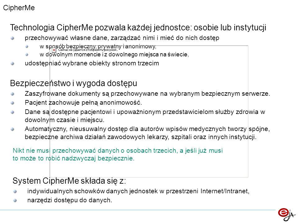 Technologia CipherMe pozwala każdej jednostce: osobie lub instytucji przechowywać własne dane, zarządzać nimi i mieć do nich dostęp w sposób bezpieczn