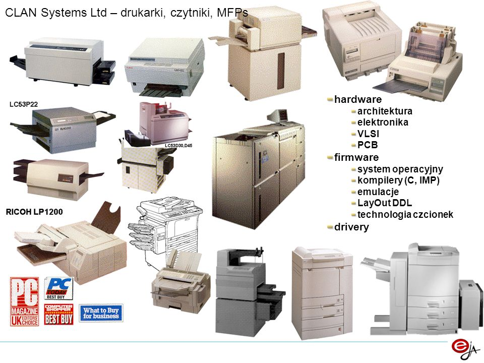 CLAN Systems Ltd – drukarki, czytniki, MFPs hardware architektura elektronika VLSI PCB firmware system operacyjny kompilery (C, IMP) emulacje LayOut D