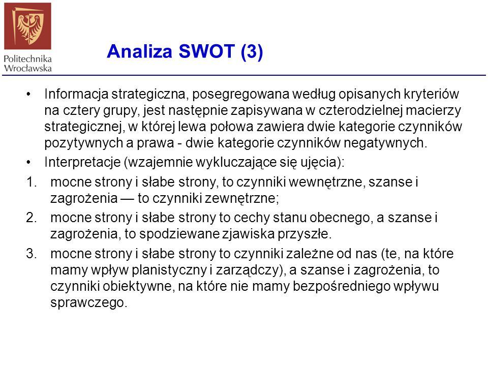 Analiza SWOT (3) Informacja strategiczna, posegregowana według opisanych kryteriów na cztery grupy, jest następnie zapisywana w czterodzielnej macierz