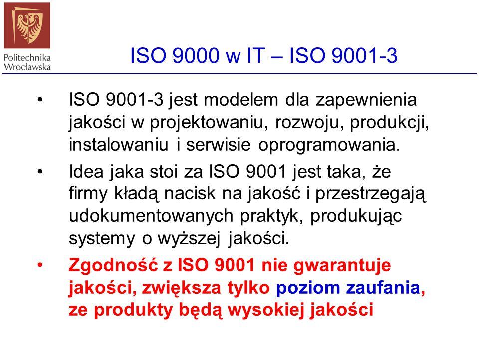 Być zgodnym z ISO 9000 Aby być zgodnym z ISO należy wykazać się posiadaniem zestawów procedur regulujących działanie organizacji oraz wykazać, że proc