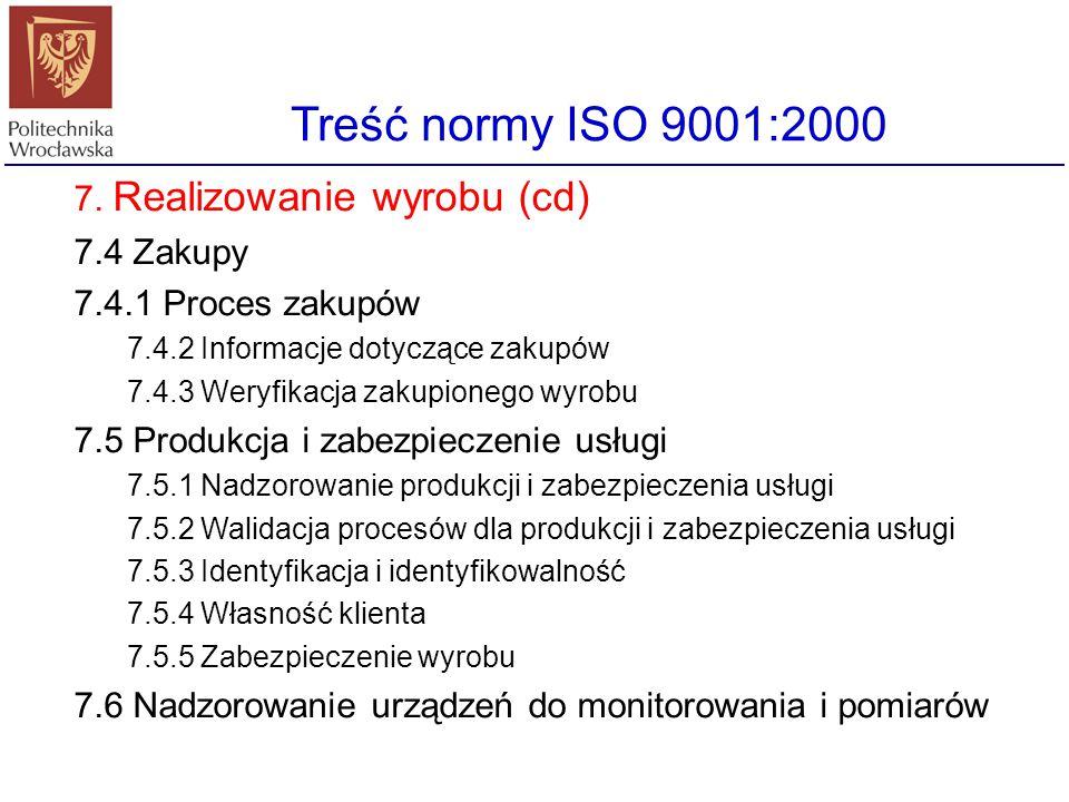 Treść normy ISO 9001:2000 7. Realizowanie wyrobu 7.1 Planowanie realizowania wyrobów 7.2 Procesy związane z klientem 7.2.1 Określenie wymagań związany