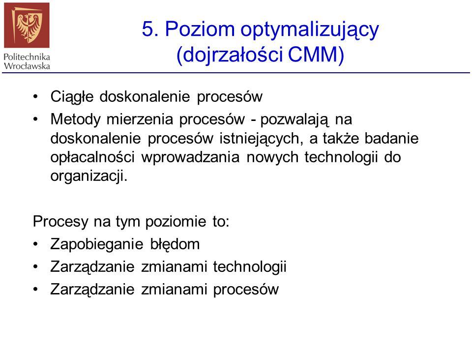 4. Poziom zdefiniowany (dojrzałości CMM) Podstawowa sprawa - jakość produktu dokładne metody pomiaru procesów proces produkcji oprogramowania jak i sa